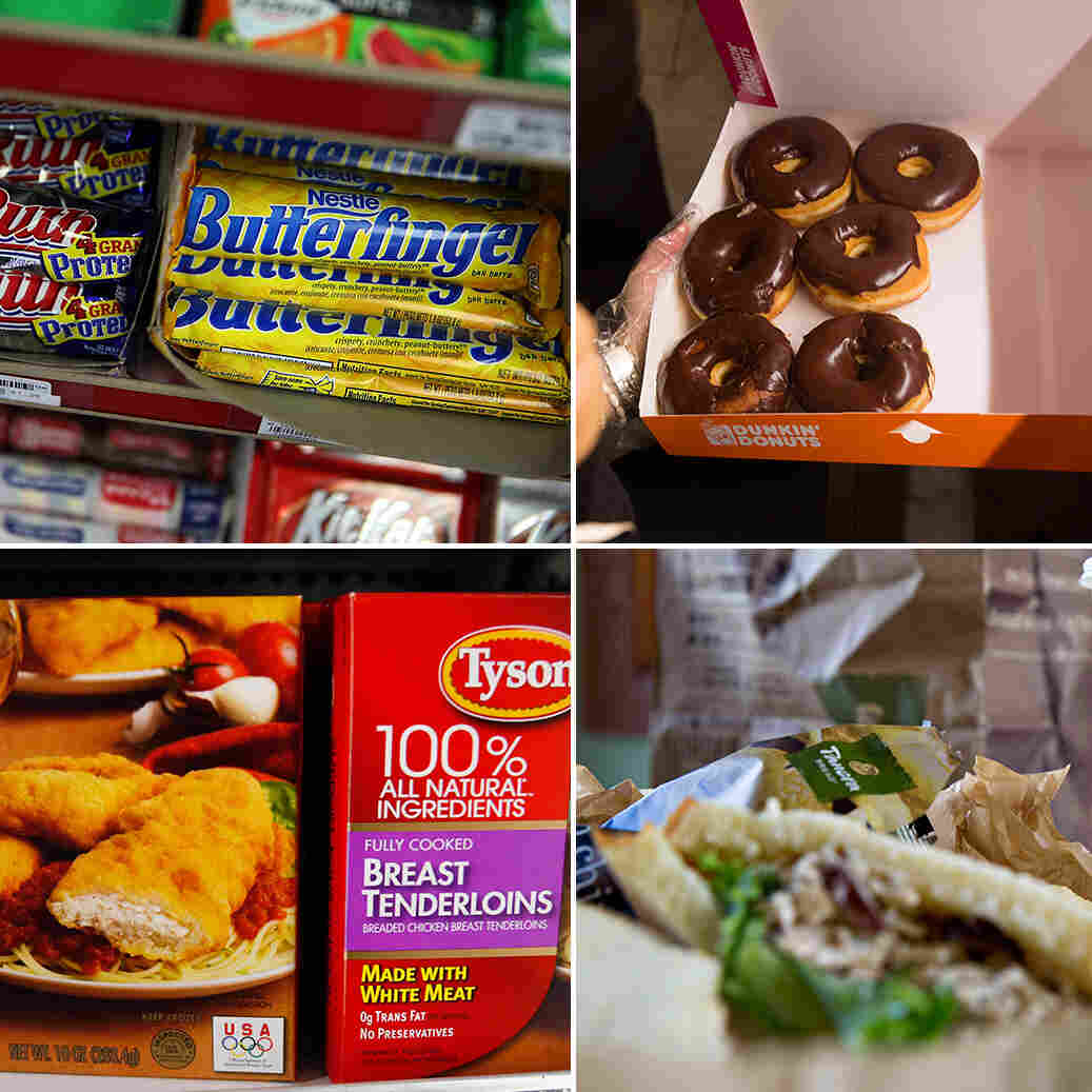 Clockwise from top left: General Mills, Nestle, Dunkin Donuts, Panera, Tyson Chicken and McDonald's, among other big food companies, made commitments in 2015 to change the way they prepare and procure their food products.