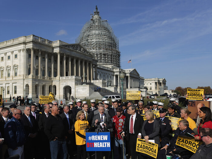 Senate and House Democrats hold a news conference with first responders in November to announce their support for the permanent reauthorization of the James Zadroga 9/11 Health and Compensation Reauthorization Act. (Chip Somodevilla/Getty Images)