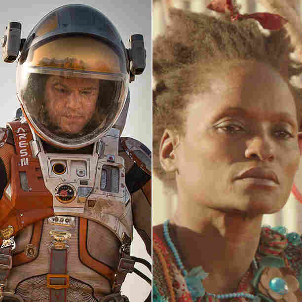 (From left) Leonardo DiCaprio in The Revenant; Amy Poehler as Joy in Inside Out; Matt Damon in The Martian; Kettly Noël in Timbuktu; and Charlize Theron in Mad Max: Fury Road.