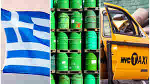 Rocky economic times in 2015 for Greece, the oil industry, and NYC's yellow cab owners.