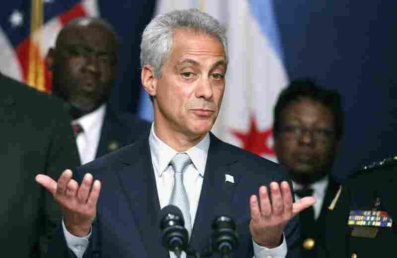 Chicago Mayor Rahm Emanuel responds to a question during a news conference about new police procedures on Wednesday.