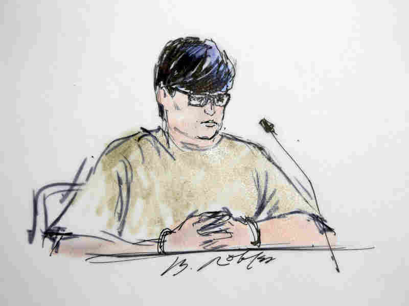 Enrique Marquez is pictured in a courtroom sketch on Dec. 17, the day he was charged with conspiring to provide material support to terrorists. He was indicted on this and other charges on Wednesday.
