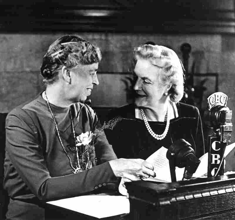 Eleanor Roosevelt (left) and Clementine Churchill pose for photographers shortly before making an address over the CBC network in 1944.