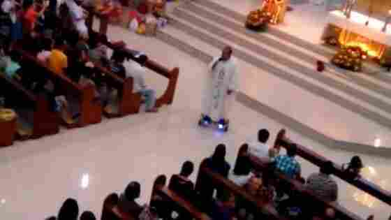 "Father Albert San Jose of Our Lady of Miraculous Medal Parish was suspended by his diocese after a video emerged of him riding a ""hoverboard"" scooter during Mass in the Philippines."