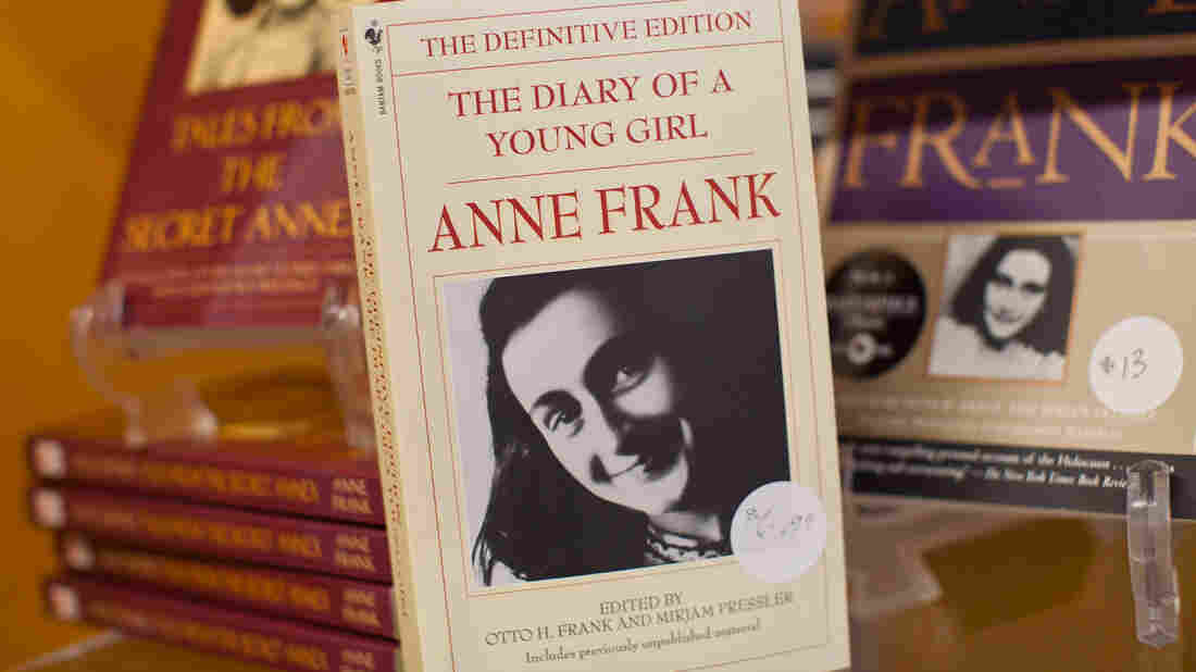A copy of The Diary of a Young Girl, displayed at the Anne Frank Center in New York City.
