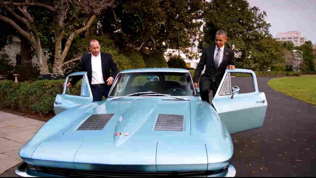 President Obama and Jerry Seinfeld drove a classic 1963 Corvette Stingray around the White House grounds for the comedian's online show.