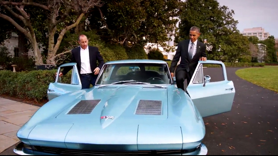 President Obama and Jerry Seinfeld drove a classic 1963 Corvette Stingray around the White House grounds for the comedian's online show. (Screengrab from 'Comedians In Cars Getting Coffee' by NPR)