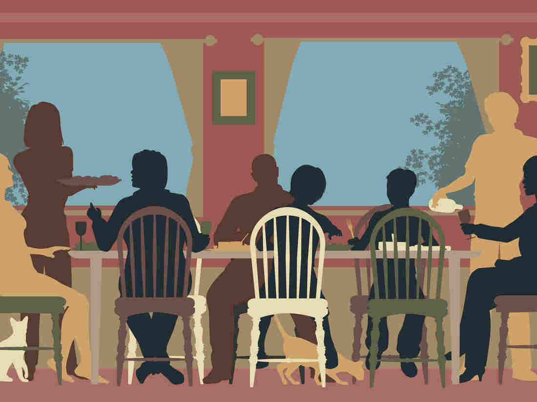 Stock graphic of people eating at a table