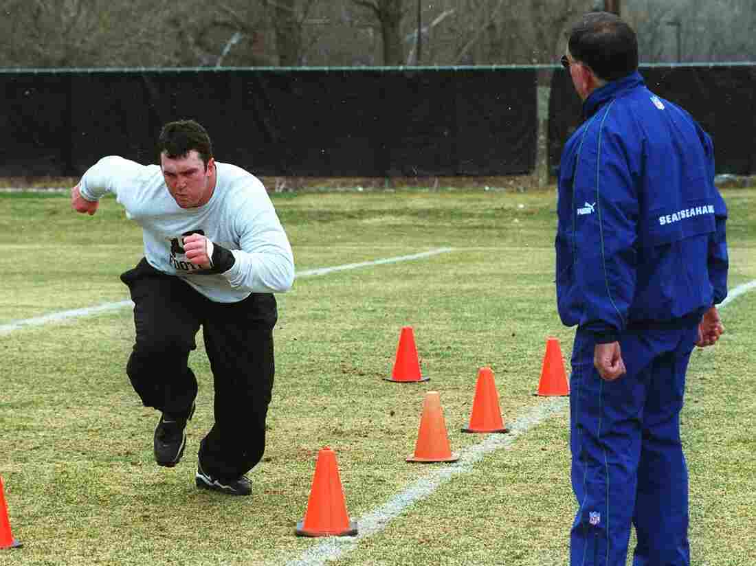 Ryan Johanningmeier, a Colorado football player, works out at Pro Scout day in 2000. He was profiled by the Denver Post recently, and that story is highlighted in this week's #NPRreads.