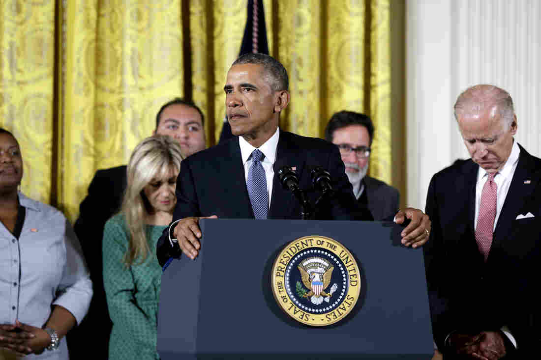 """We maybe can't save everybody, but we can save some,"" President Obama said at the White House Tuesday, discussing his plans to reduce gun violence with tighter background checks and other measures. He was joined onstage by Vice President Biden and people whose lives have been affected by gun violence."