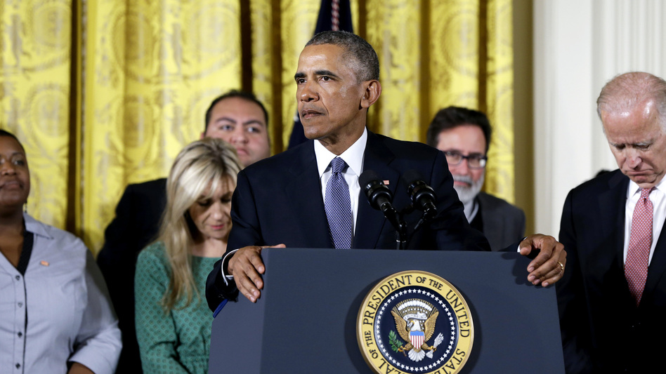 """We maybe can't save everybody, but we can save some,"" President Obama said at the White House Tuesday, discussing his plans to reduce gun violence with tighter background checks and other measures. He was joined onstage by Vice President Biden and people whose lives have been affected by gun violence. (AP)"