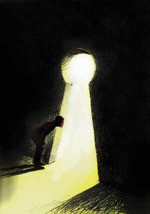 Curious man peering out from dark through large lit up keyhole