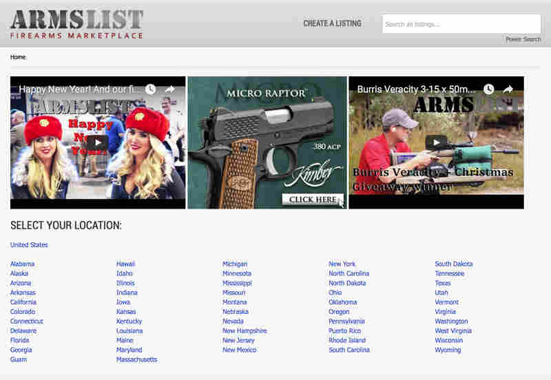 A screen shot of Armstlist.com, a website where you can buy and sell guns online.