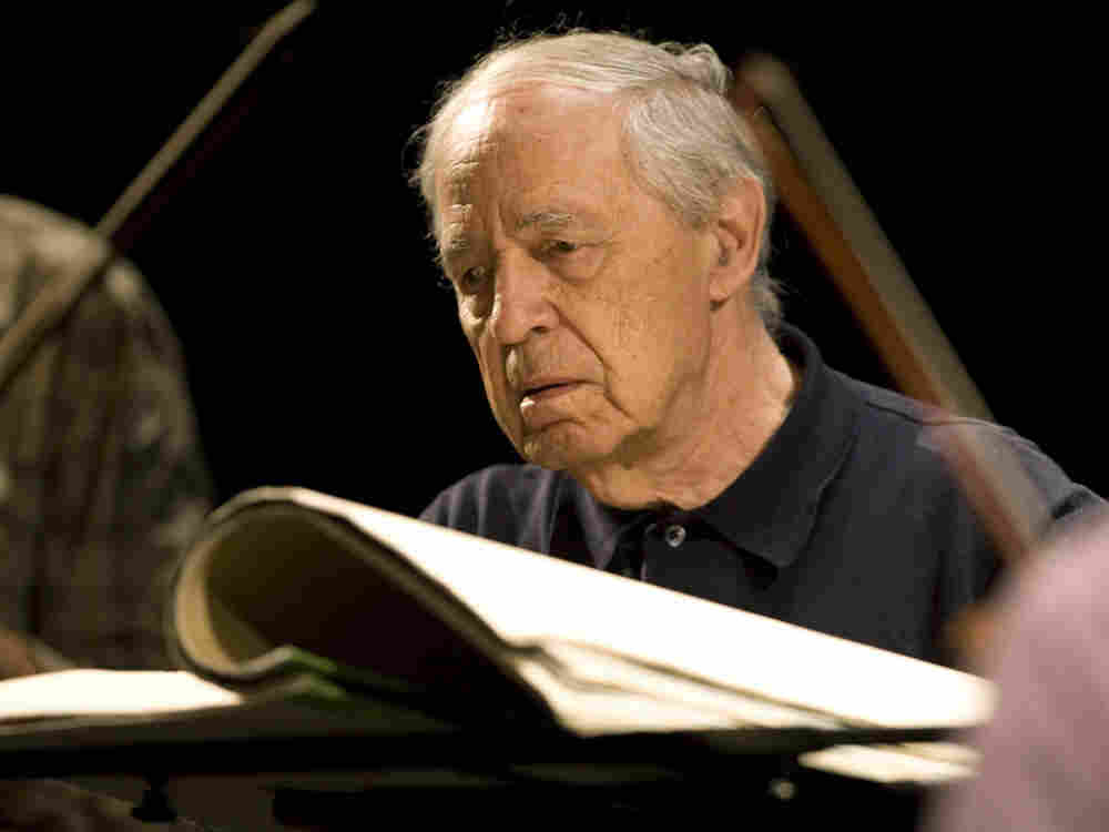 French composer and conductor Pierre Boulez conducts during a rehearsal ahead of a concert of contemporary music in Baden-Baden, Germany, in 2007.