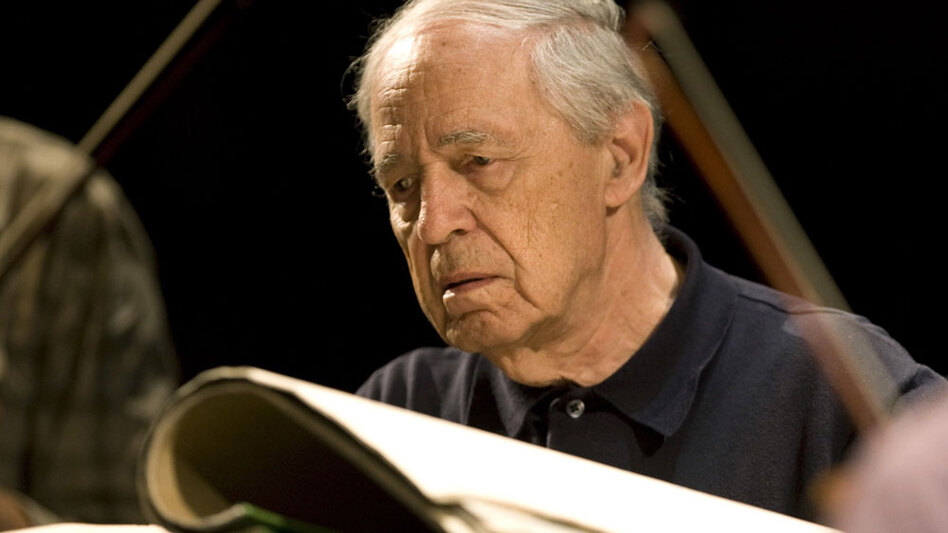French composer and conductor Pierre Boulez conducts during a rehearsal ahead of a concert of contemporary music in Baden-Baden, Germany, in 2007. (AFP/Getty Images)
