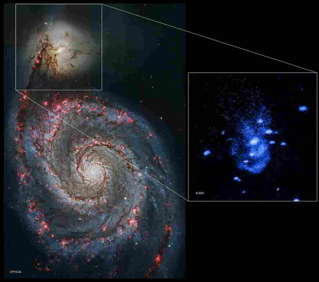 The inset image shows X-ray arcs that astronomers say are signs of galactic burping in the Messier 51 galaxy system, captured by NASA's Chandra X-ray Observatory.