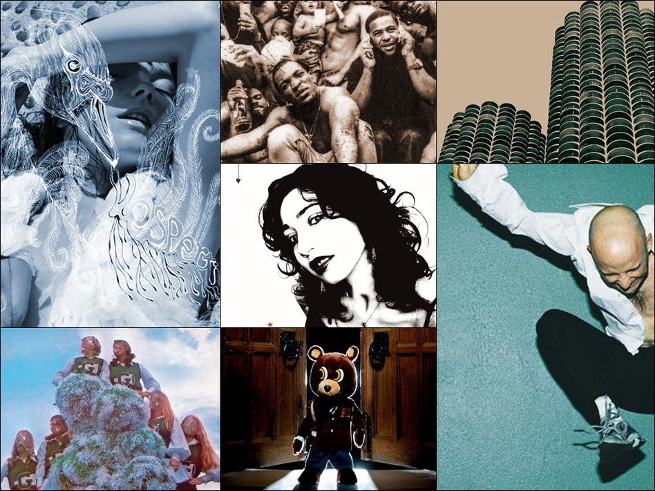 Clockwise from upper left: Cover art for Björk's <em>Vespertine, </em>Wilco's <em>Yankee Hotel Foxtrot, </em>Moby's <em>Play, </em>Kanye West's <em>Late Registration, </em>Sleigh Bells' <em>Treats </em>and Regina Spektor's <em>Begin To Hope</em>