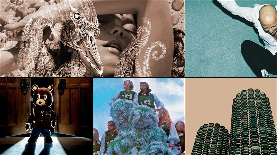 Clockwise from upper left: Cover art for Björk's Vespertine, Wilco's Yankee Hotel Foxtrot, Moby's Play, Kanye West's Late Registration, Sleigh Bells' Treats and Regina Spektor's Begin To Hope (Courtesy of the artists)