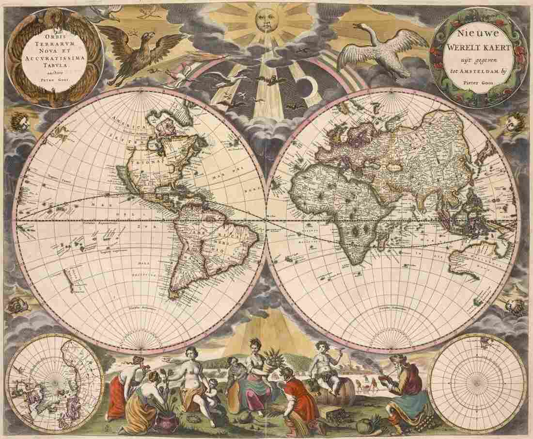 The NYPL's digital collections include a number of maps in the public domain, like this 1672 world map by Pieter Goos.
