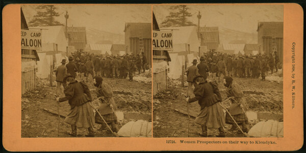 The public domain release includes more than 40,000 stereoscopic views — like this one of female prospectors in 1898.