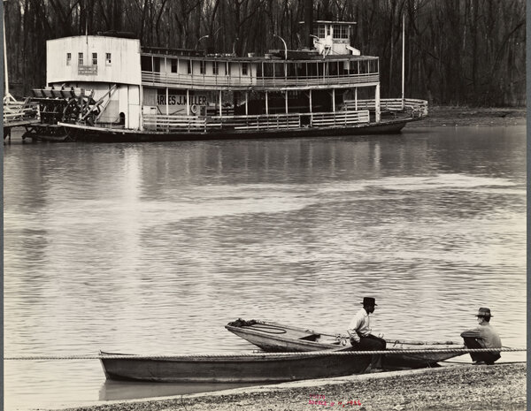 """Ferry and river men. Vicksburg, Mississippi,"" a 1936 photo by Walker Evans, is one of many images in the NYPL's collection from the Farm Security Administration's Depression-era photography projects."