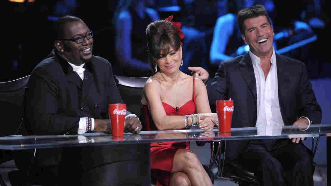 Original American Idol judges Randy Jackson, Paula Abdul and Simon Cowell on stage in 2008.