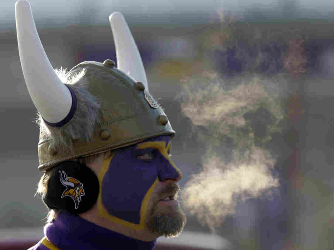 Sunday's playoff game could be one of the coldest in NFL history. In this 2009 photo, Vikings fan Scott Skolt braved the cold during a game against the Cincinnati Bengals.