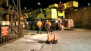 The crane used to rescue 17 miners stuck in an elevator underground at the Cargill Salt Mine in Lansing, N.Y., is seen here, in a photo provided by the Ithaca Fire Department.