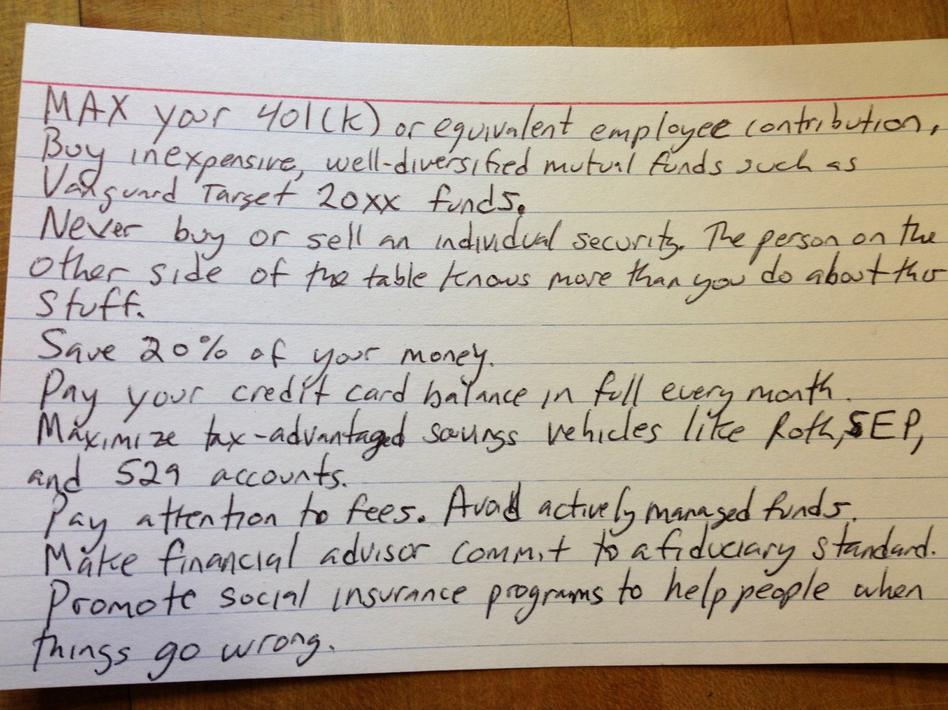 Harold Pollack's index card of finance tips. (Harold Pollack)