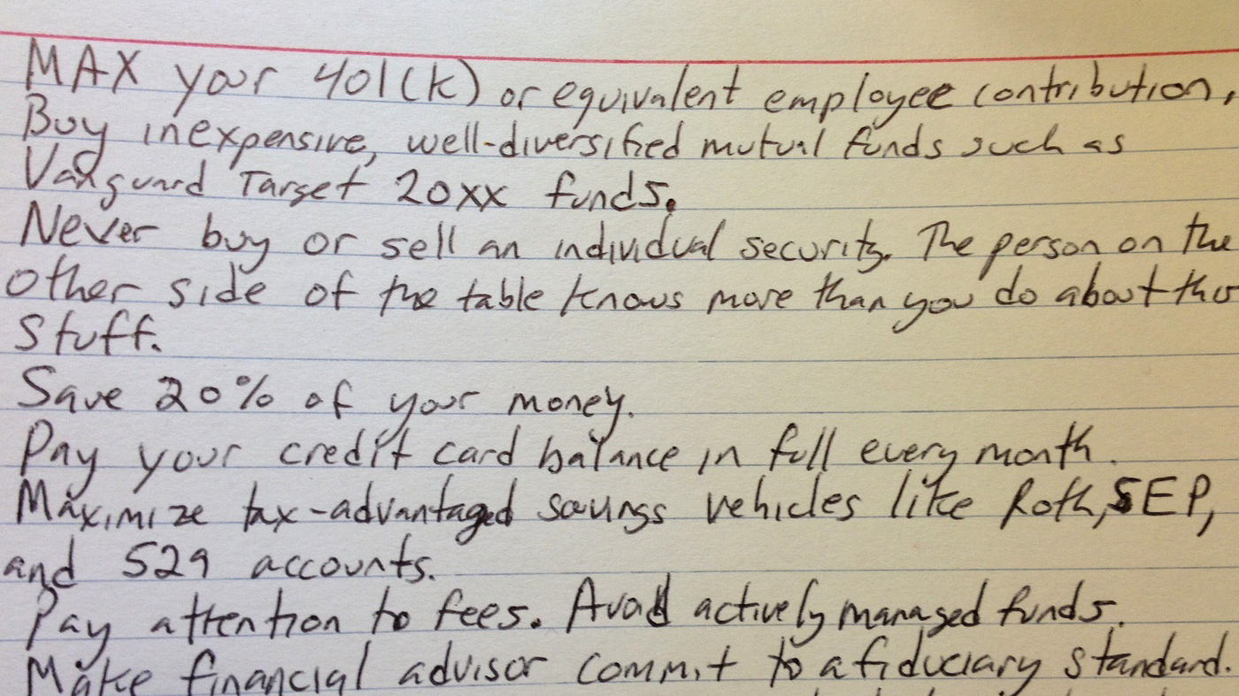 Can The Best Financial Tips Fit On An Index Card All Tech