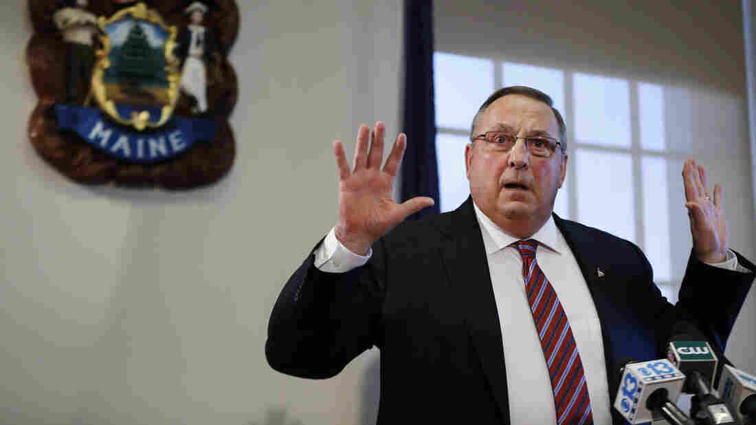 Gov. Paul LePage, R-Maine, at a news conference Friday, where he apologized for racially tinged remarks he made while talking about Maine's heroin epidemic.