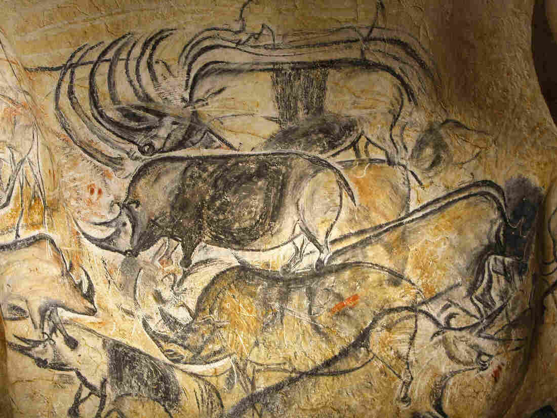 Drawings of animal figures are seen in the life-size replica of Grotte Chauvet in Vallon Pont d'Arc in southern France last March.