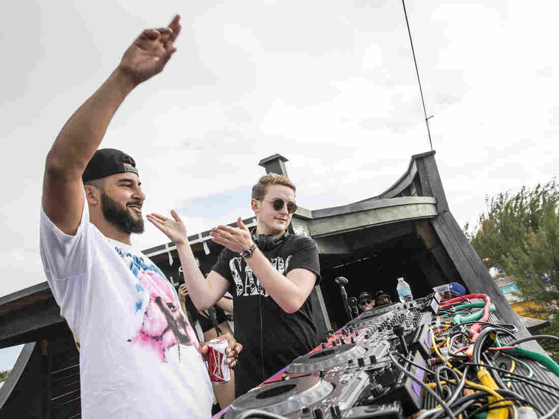 Armand Van Helden and Disclosure's Guy Lawrence at Holy Ship!, January 2015.