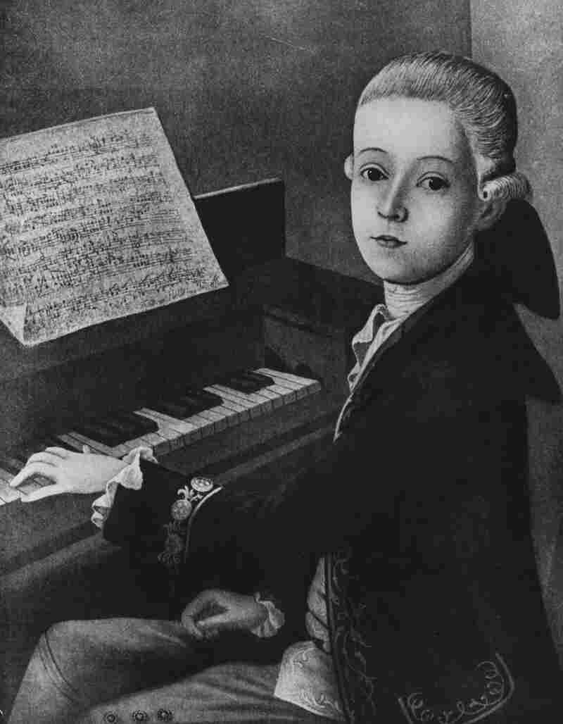This painting of Austrian composer Wolfgang Amadeus Mozart shows him at the keyboard at the age of 9.