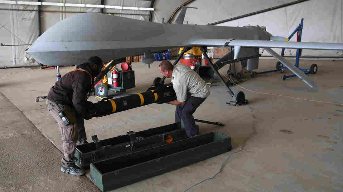 A Hellfire missile like this one being loaded onto a U.S. Air Force Predator drone went missing in 2014 — and turned up in Cuba. The U.S. says it lacks key internal components.