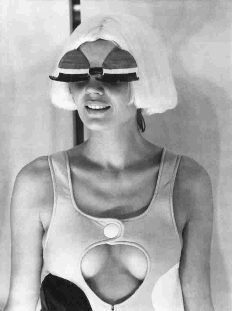 A model wears Courrèges' creations, including a version of his famous eyewear.
