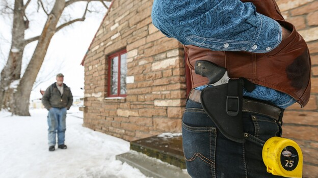 The armed individuals occupying part of the Malheur National Wildlife Refuge in Oregon include Ryan Bundy. On Thursday, he had a gun and a tape measure on his side. Bundy is the son of Cliven Bundy, whose 2014 armed standoff with the federal Bureau of Land Management in in Nevada drew national attention. (Getty Images)