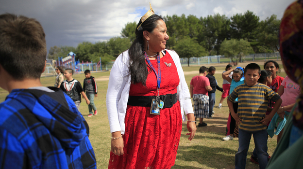 Tia Tsosie Begay is a fourth-grade teacher at a small public school on the outskirts of Tucson, Ariz. (NPR)