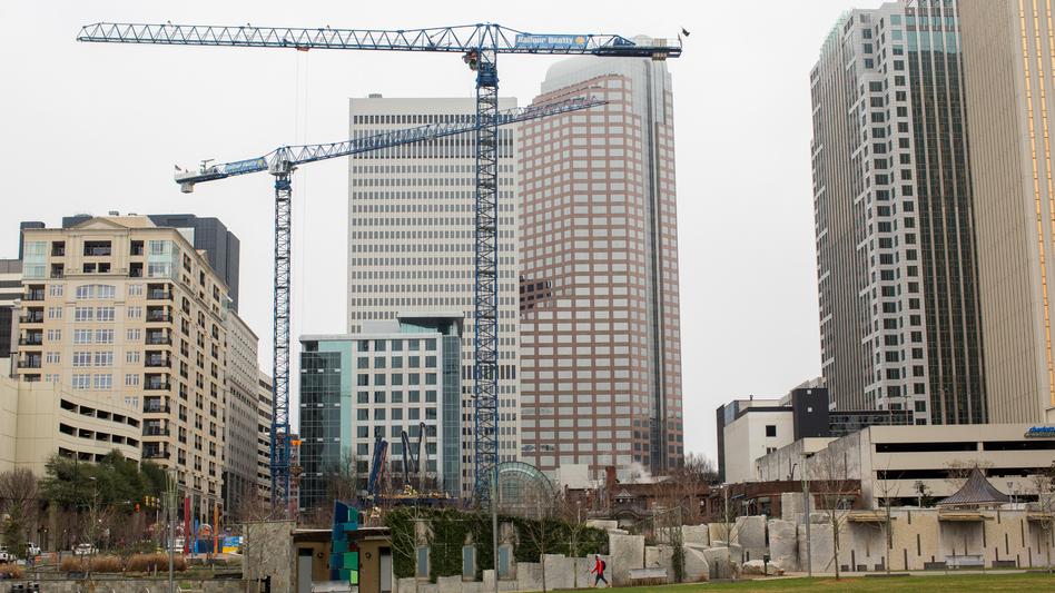Cranes pepper the skyline in Charlotte, N.C., a sign of the region's strong economic growth. (Logan Cyrus for NPR)