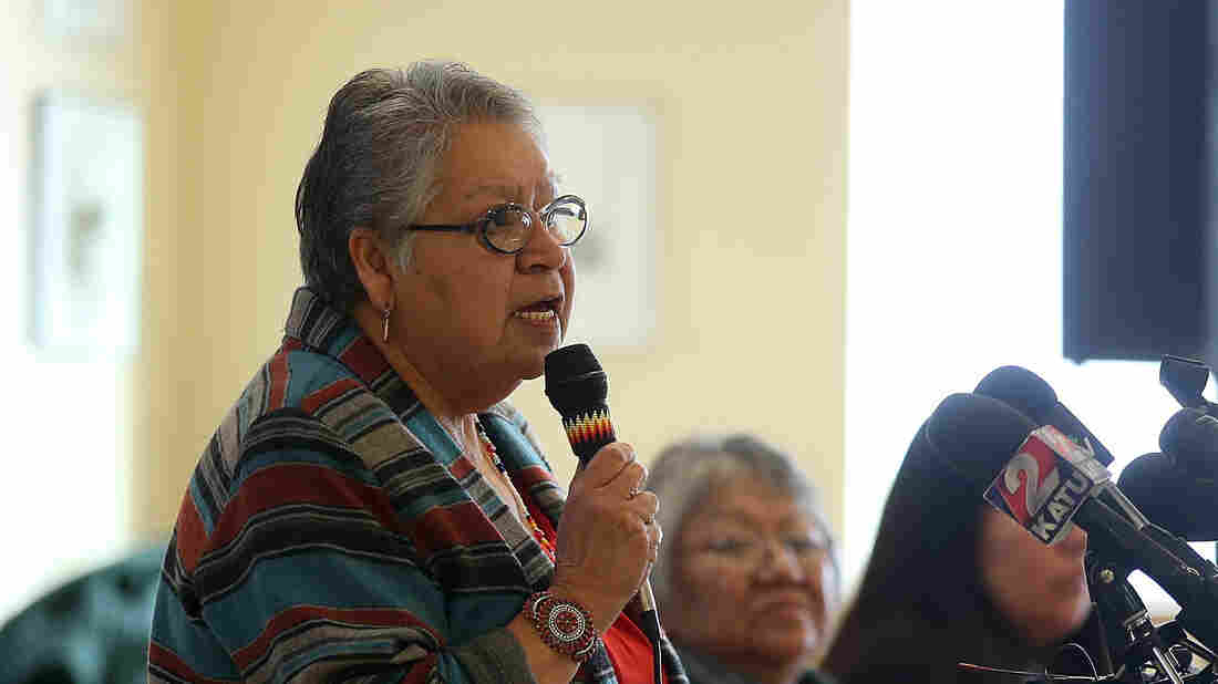 Burns Paiute Tribal Council Chairperson Charlotte Rodrique speaks during a press conference on Jan. 6 in Burns, Ore.