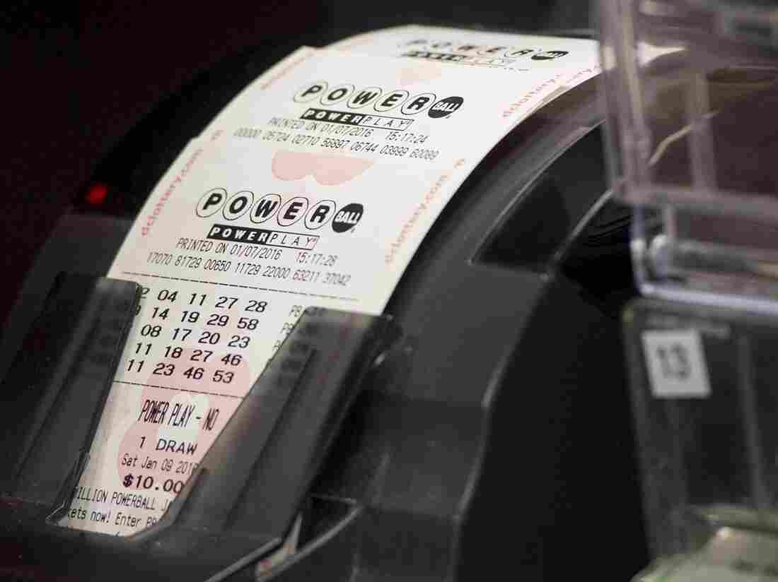 A machine prints Powerball lottery tickets at a convenience store in Washington, D.C.