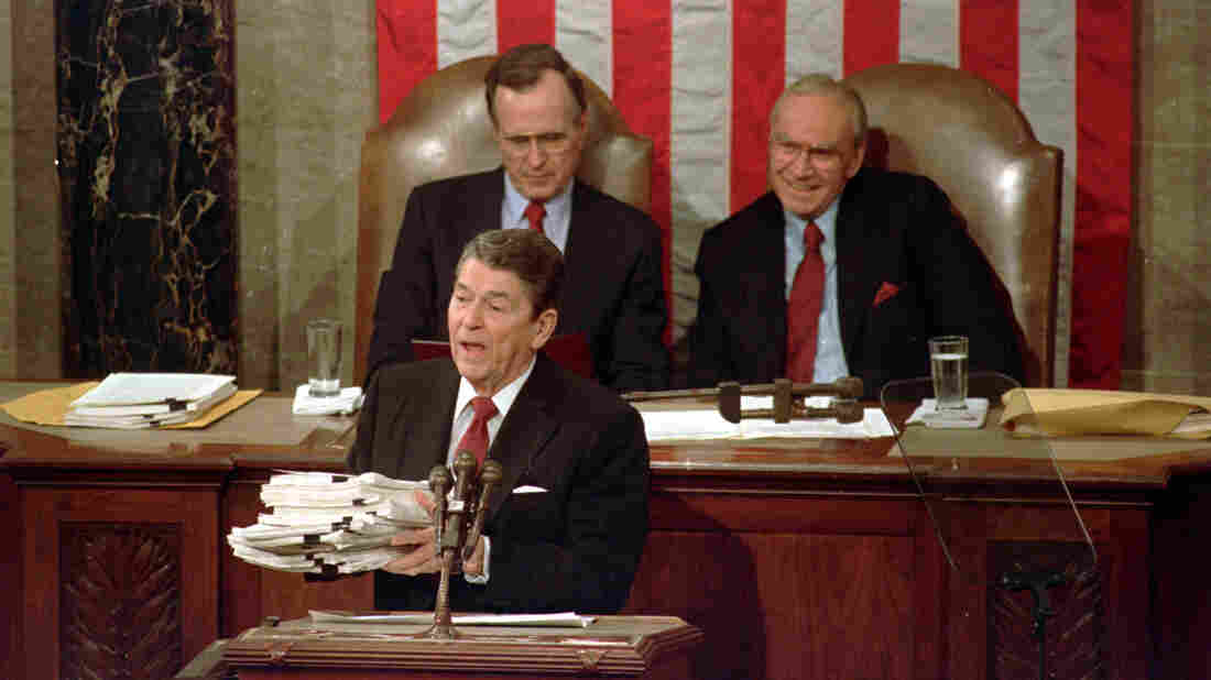 In 1988, President Ronald Reagan held up a 14-pound continuing resolution for the budget, part of a total package weighing 43 pounds.