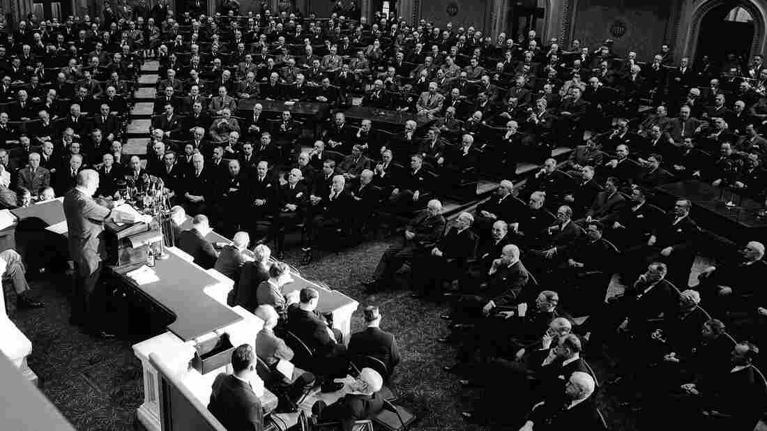President Franklin D. Roosevelt addressing Congress in 1943. After Roosevelt made his eighth-year speech in 1940, he went on to win a third term.