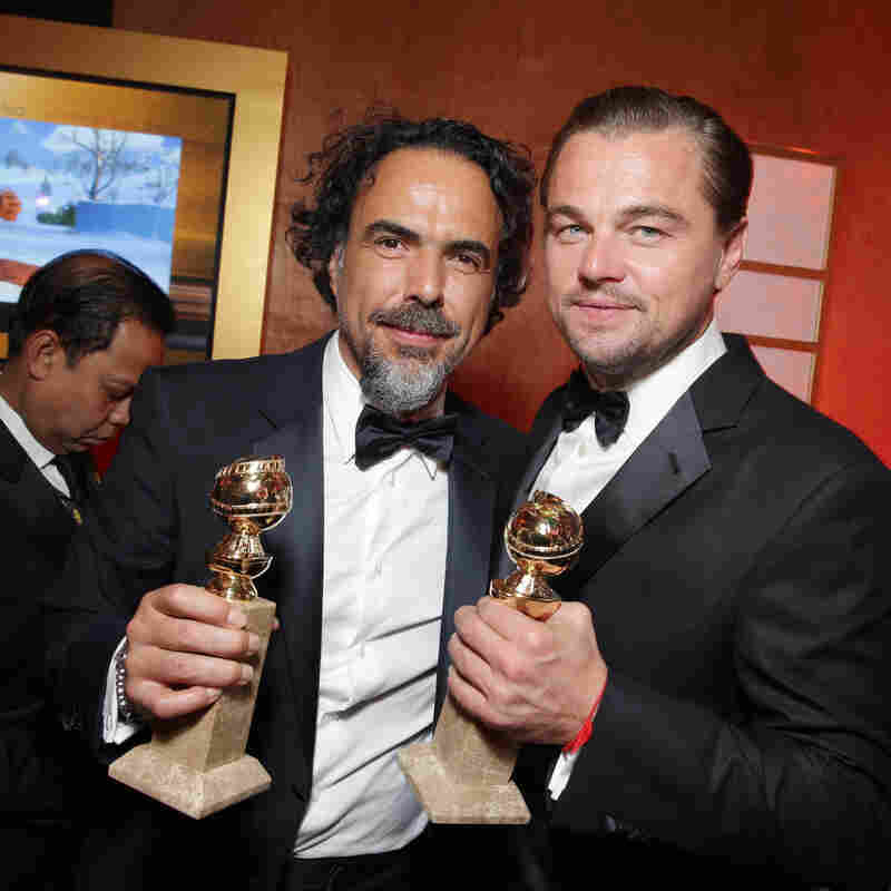 Alejandro Gonzalez Inarritu and Leonardo DiCaprio at the Twentieth Century Fox Golden Globes Party on Sunday in Beverly Hills, Calif.