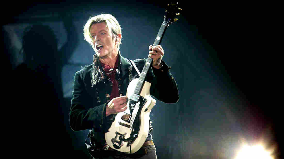 David Bowie performs on stage in 2003.