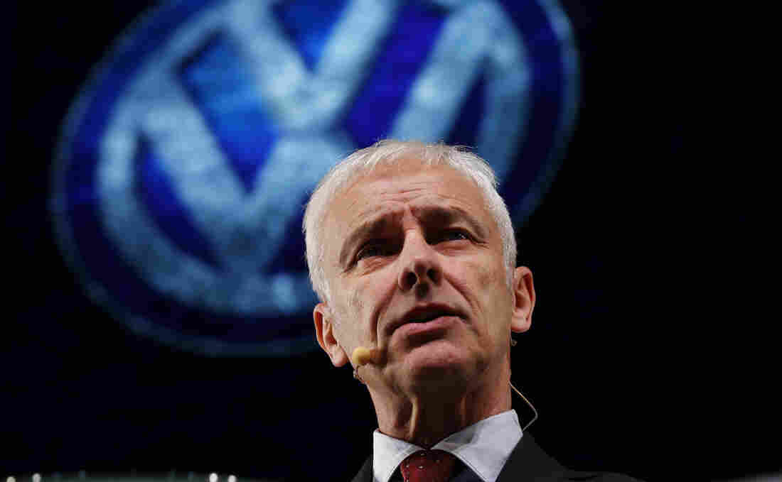 Volkswagen CEO Matthias Mueller speaks to the media Sunday in Detroit, apologizing for the scandal that has plunged the German auto giant into crisis.