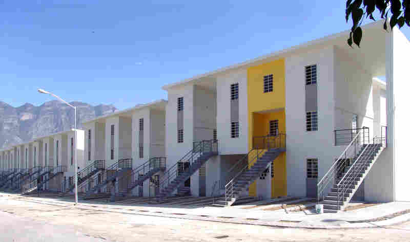 "Monterrey Housing, Monterrey, Mexico, 2010: ""In the Mexican housing market, the cheapest solution that is offered is about $30,000. So the poor are not being reached,"" Aravena says. His Monterrey houses have an initial cost of $20,000, and additions can increase their value."