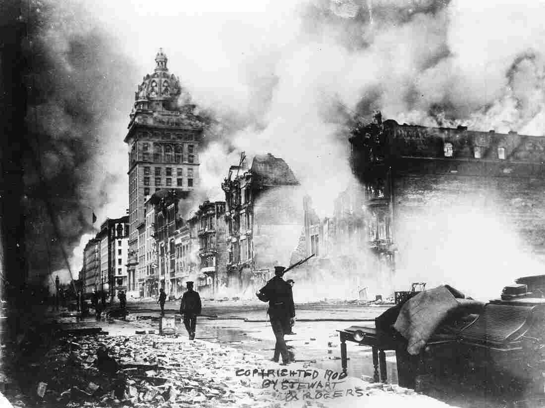 Fires rage out of control in San Francisco following the massive earthquake on April 18, 1906.