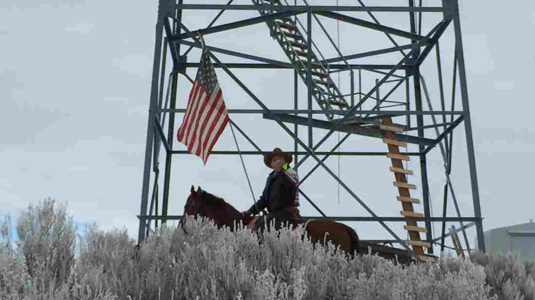Self-described patriot Wayne Ehmer of Irrigon, Ore., shown with his horse named Cowboy, says he joined the occupation at the Malheur National Wildlife Refuge last week.