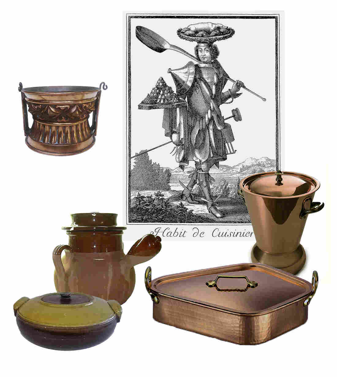 Clockwise from top left: French copper pate mold circa 1870, potato steamer c. 1950, poacher for turbot fish c. 1960, Earthenware tripiere pot c. 1920, terracotta toupin for simmering stews and soups from c. 1940.